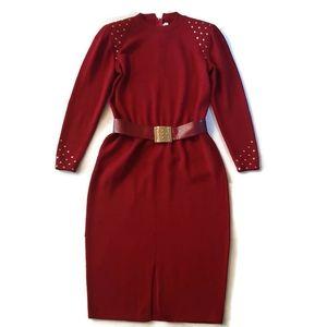ST. JOHN vintage 80s cranberry knit dress